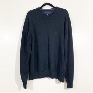 Tommy Hilfiger XL Black Crew Neck Cotton Sweater